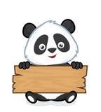 Panda que sostiene un tablón de la madera ilustración del vector