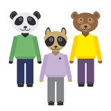 Panda, raccoon, bear animals set in Trendy Flat Style. zoo infographics design. Vector Stock Photos