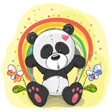 Panda with rainbow. Cute cartoon Panda with rainbow on a yellow background Royalty Free Stock Photos