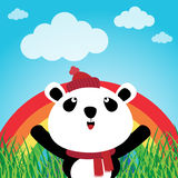 Panda with rainbow in the forest Stock Photo