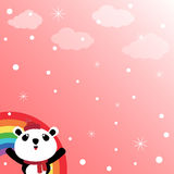 Panda and rainbow in the sky Royalty Free Stock Images