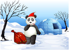 A panda with a red sack Royalty Free Stock Image