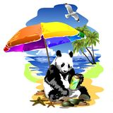 Panda relaxing under an umbrella on the beach.. (Vector) Stock Photography
