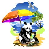 Panda is resting on the sea beach. Stock Photos