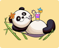 Panda resting. On a sun lounger stock illustration