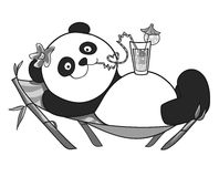 Panda resting on a sun lounger. Black and wite stock illustration