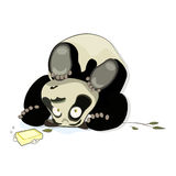 Panda rests on his head. And surprise stares close to the leaves and a piece of soap with bubbles. Funny cartoon vector illustration. Animal bite the bullet Royalty Free Stock Photography
