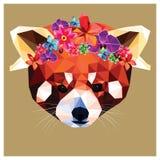 Panda roja con la corona floral Imagen de archivo libre de regalías