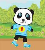 Panda roller skating Stock Images