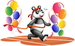 A panda running with colorful balloons Stock Image