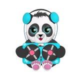 Panda słucha rocznik taśmy pisak z hełmofonami tła postać z kreskówki zuchwałych ślicznych psów szczęśliwa głowa odizolowywał uśm Zdjęcie Royalty Free
