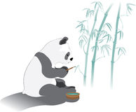 Panda's bamboo caligraphy. Panda bear painting a bamboo forest Royalty Free Stock Images