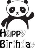 Panda`s Happy Birthday. Quite poster with little panda Royalty Free Stock Photo