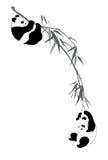 Panda's op tak stock illustratie