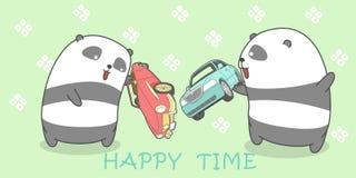 2 panda's speelt met speelgoed stock illustratie