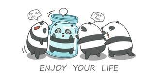 4 panda's spelen samen royalty-vrije illustratie