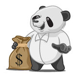 Panda with Sack of Cash Royalty Free Stock Photos