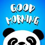 Panda sagt guten Morgen Vektor Karikatur betreffen blauen Hintergrund Lizenzfreies Stockfoto