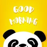 Panda sagt guten Morgen Vektor Karikatur betreffen gelben Hintergrund Lizenzfreies Stockfoto