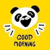 Panda sagt Guten Tag Vektorhintergrund mit Karikaturbären Lizenzfreies Stockfoto