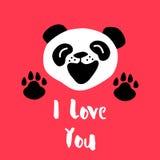 Panda sagt ich liebe dich Vektorhintergrund mit Karikaturbären Lizenzfreie Stockbilder