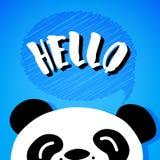 Panda says Hello. Cartoon bear on blue background. Vector Royalty Free Stock Photos