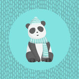Panda with a scarf and hat Royalty Free Stock Photos