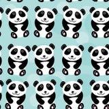 Panda Seamless-Muster mit lustigem nettem Tier auf einem blauen backgrou lizenzfreie abbildung