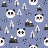 Panda Seamless Pattern Background stock illustrationer
