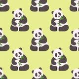 Panda seamless pattern bamboo china wild bear mammal beautiful decoration zoo asia wildlife background vector Stock Image