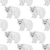 Panda Seamless Pattern Croquis ethnique à main levée pour la coloration adulte Photos stock