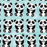 Panda Seamless pattern with funny cute animal on a blue backgrou Royalty Free Stock Photo