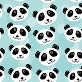 Panda Seamless pattern with funny cute animal face on a blue bac Stock Image