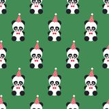 Panda seamless pattern on green background. Design for print on baby`s clothes, textile, wallpaper, fabric. Vector background with smiling baby animal koala Stock Photography