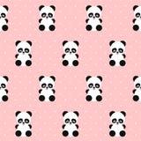 Panda seamless pattern on polka dots pink background. Stock Photography