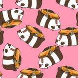 A panda sem emenda do kawaii ama o teste padrão super do carro ilustração stock