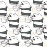 Panda sem emenda e gato a tempo para relaxar o teste padrão ilustração stock