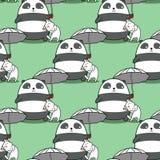 A panda sem emenda está levando o guarda-chuva com um teste padrão do gato ilustração stock