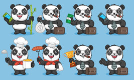 Panda Set Characters Part 3 illustration stock