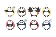 Panda set emotions. Vector cartoon style cute collection. Doodle kid. Stock Illustration