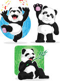 Panda Set - Happy, Waving Hand, Eating Bamboo Stock Photo