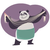Panda shows handmade chinese noodles. Stock Photos