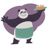Panda shows a tray with Chinese food Dim Sum. Cheerful cartoon waiter Panda shows a tray with Chinese food Dim Sum Royalty Free Stock Images