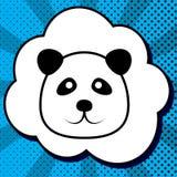 Panda sign illustration. Vector. Black icon in bubble on blue po