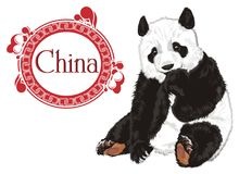 Bear with word of country and icon. Panda sit with word China in red patten Stock Images