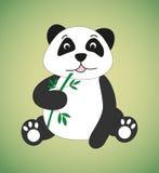 Panda. Sitting panda with green bamboo Stock Photos