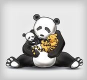 Panda sitting with her child and little baby tiger vector illust Stock Images