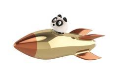 Panda sitting in a rocket.3D illustration. Royalty Free Stock Image