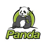 Panda sitzt und isst Bambus stockfotografie
