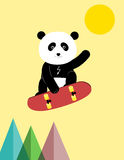 Panda on a skateboard Stock Image